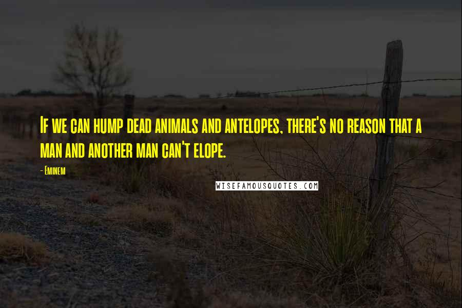 Eminem quotes: If we can hump dead animals and antelopes, there's no reason that a man and another man can't elope.