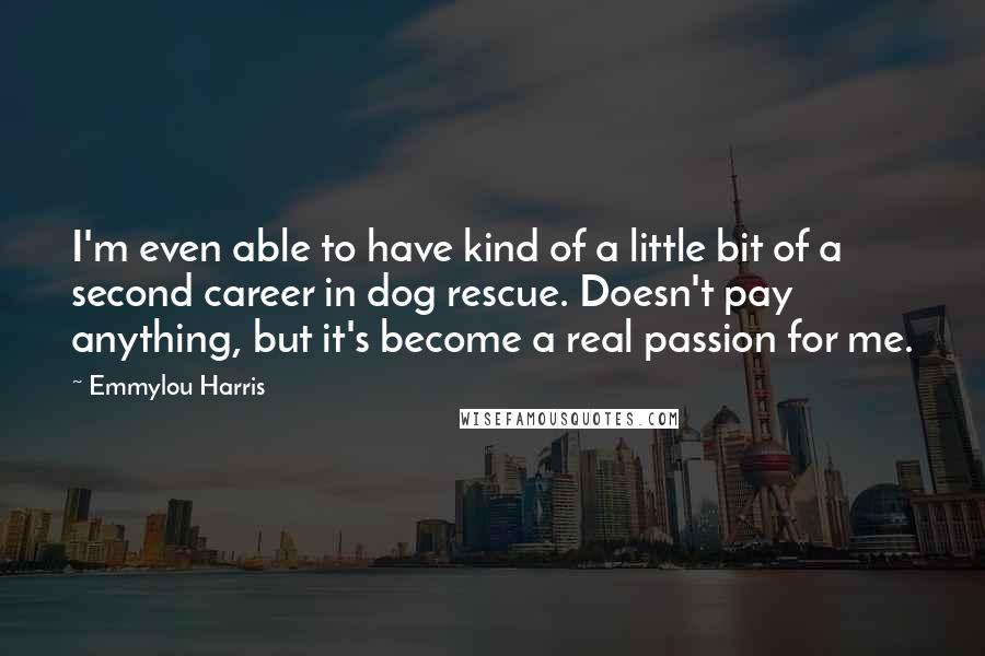 Emmylou Harris quotes: I'm even able to have kind of a little bit of a second career in dog rescue. Doesn't pay anything, but it's become a real passion for me.