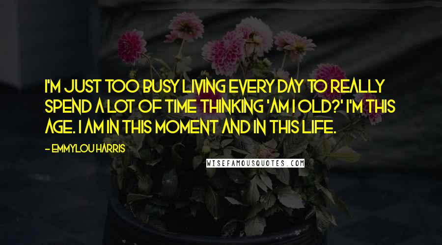 Emmylou Harris quotes: I'm just too busy living every day to really spend a lot of time thinking 'am I old?' I'm this age. I am in this moment and in this life.