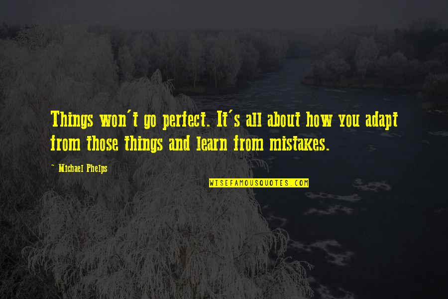 Employee Appreciation Inspirational Quotes By Michael Phelps: Things won't go perfect. It's all about how