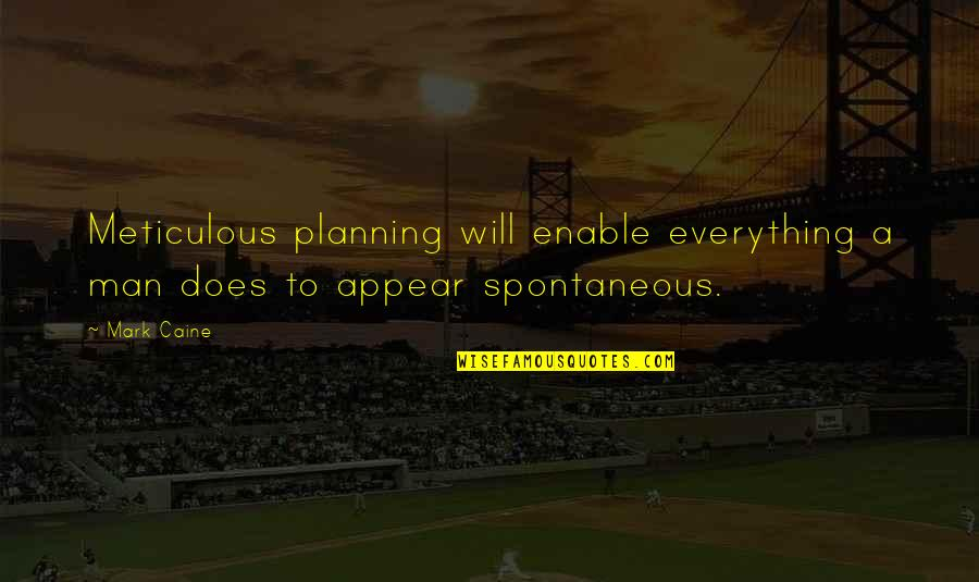 Enable Quotes By Mark Caine: Meticulous planning will enable everything a man does