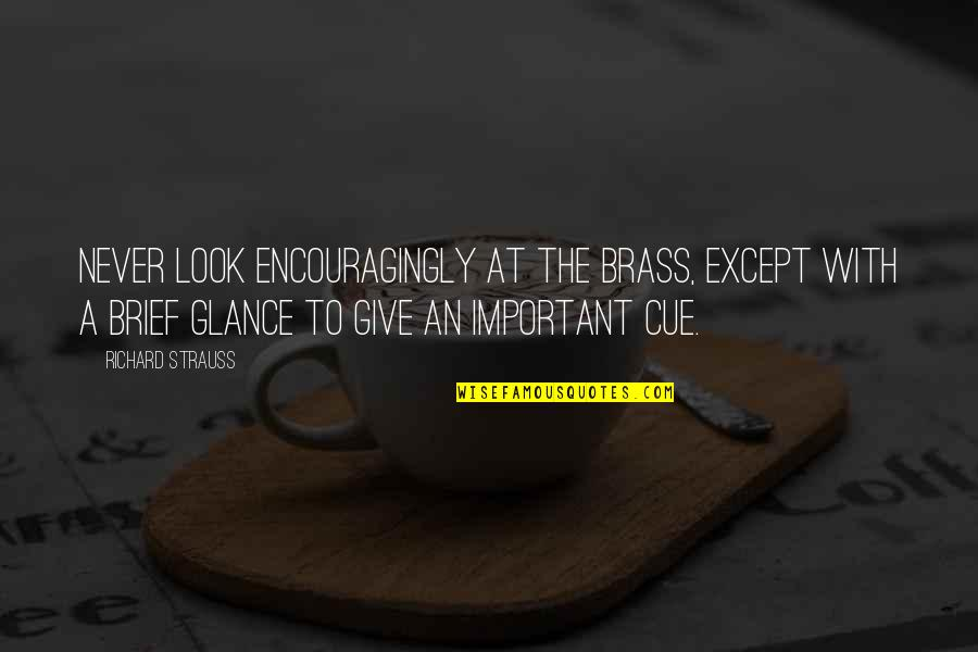 Encouragingly Quotes By Richard Strauss: Never look encouragingly at the brass, except with