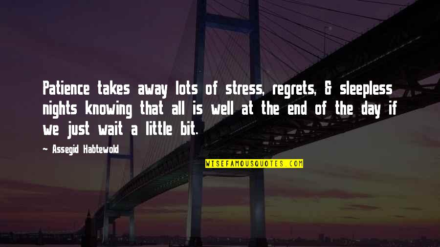 End The Day Quotes By Assegid Habtewold: Patience takes away lots of stress, regrets, &