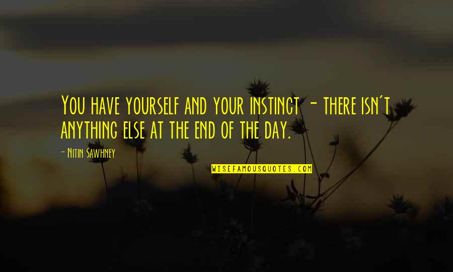 End The Day Quotes By Nitin Sawhney: You have yourself and your instinct - there