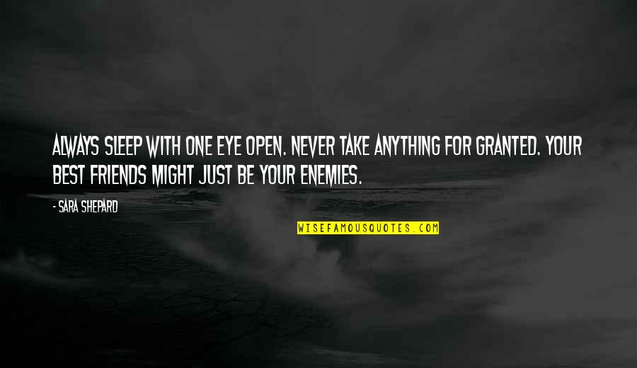 Enemies And Fake Friends Quotes By Sara Shepard: Always sleep with one eye open. Never take