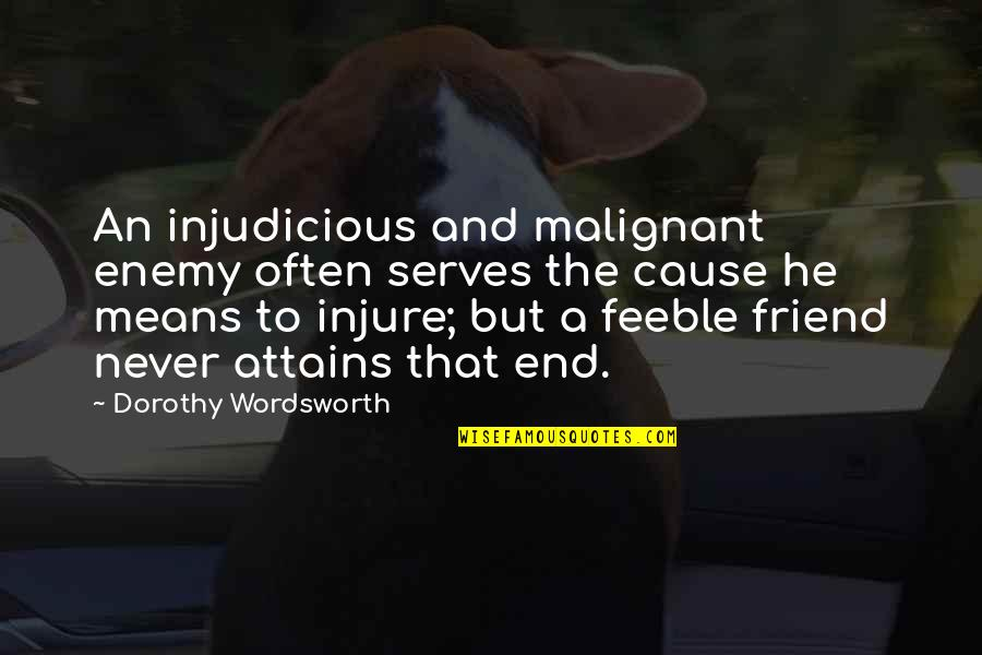 Enemy And Friend Quotes By Dorothy Wordsworth: An injudicious and malignant enemy often serves the