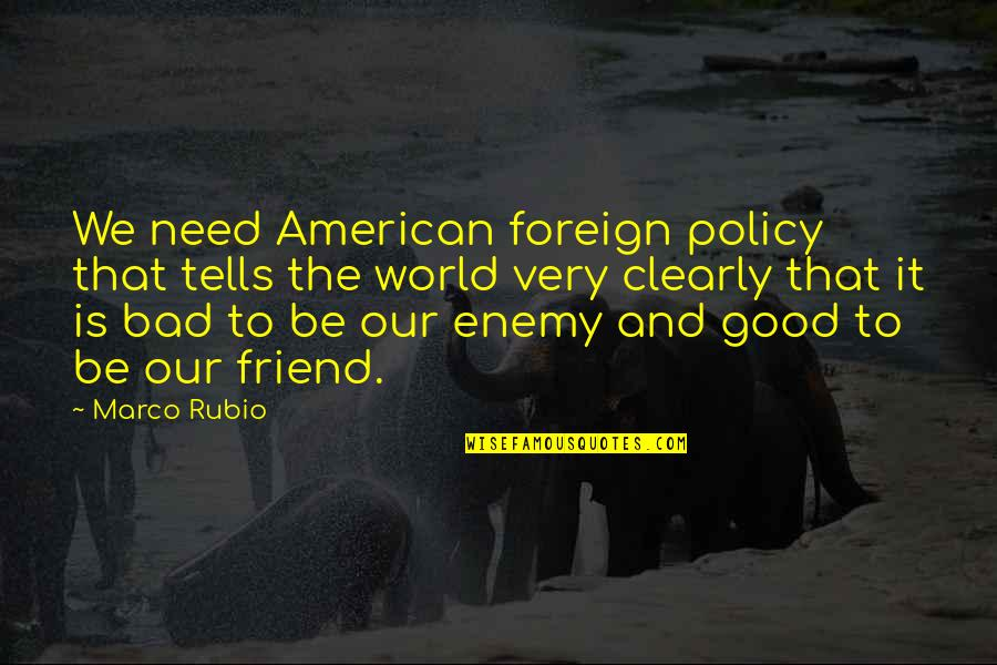Enemy And Friend Quotes By Marco Rubio: We need American foreign policy that tells the