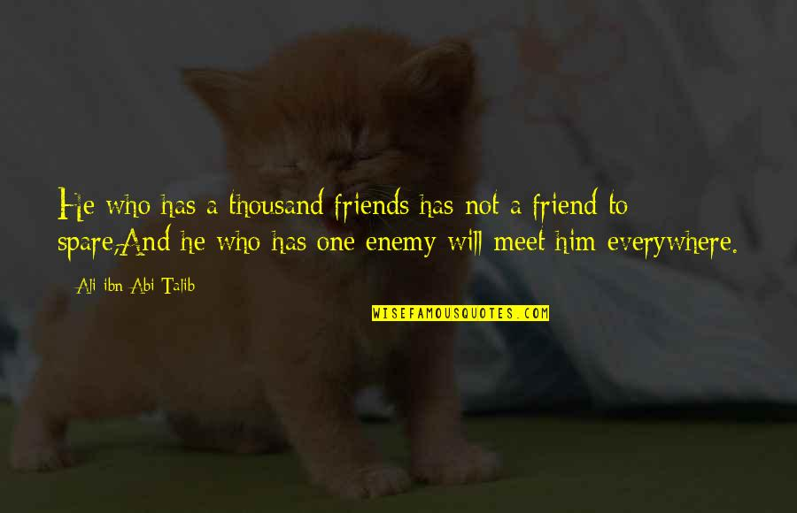 Enemy And Friends Quotes By Ali Ibn Abi Talib: He who has a thousand friends has not