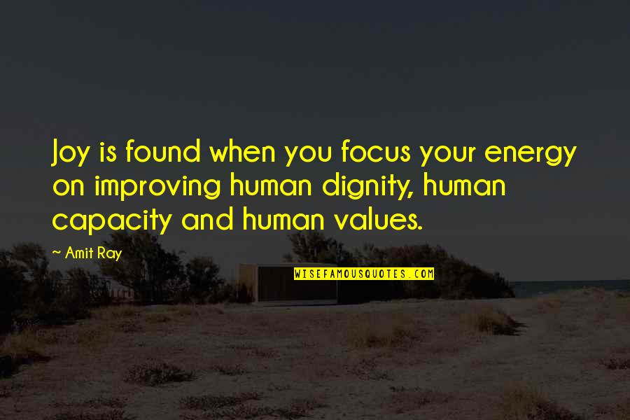 Energy And Focus Quotes By Amit Ray: Joy is found when you focus your energy