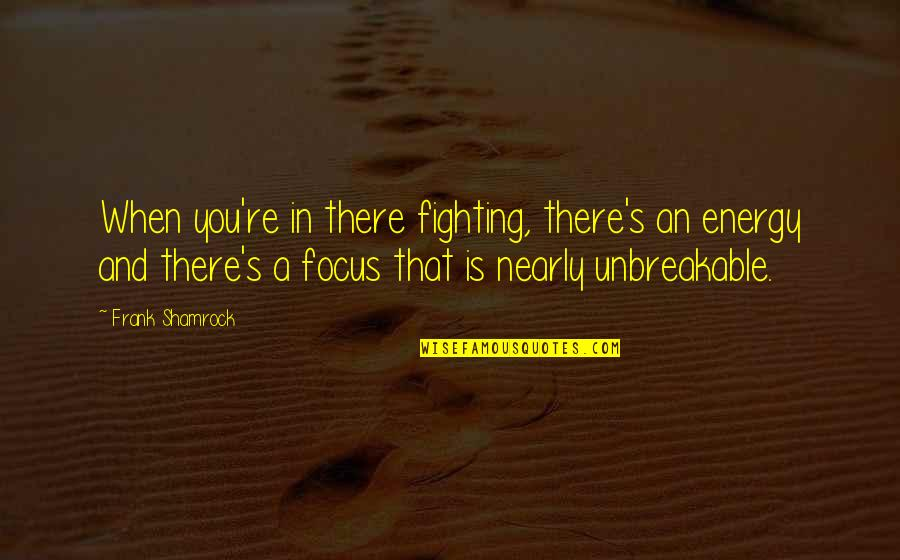 Energy And Focus Quotes By Frank Shamrock: When you're in there fighting, there's an energy