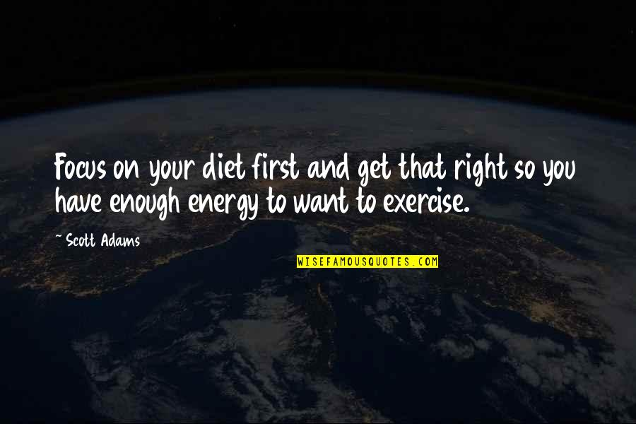 Energy And Focus Quotes By Scott Adams: Focus on your diet first and get that