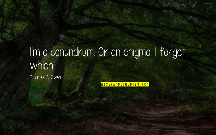 Enigma Quotes By James A. Owen: I'm a conundrum. Or an enigma. I forget