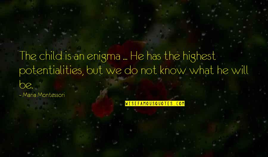 Enigma Quotes By Maria Montessori: The child is an enigma ... He has