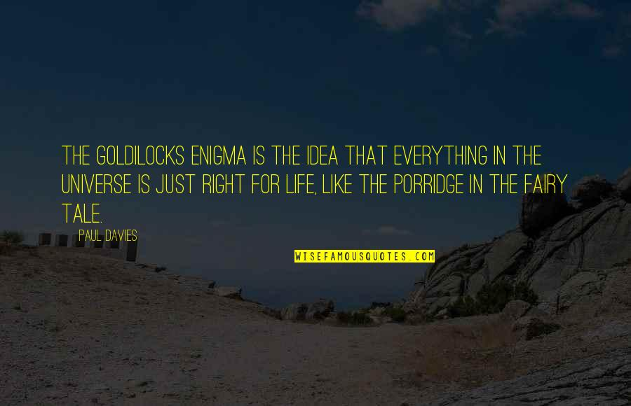 Enigma Quotes By Paul Davies: The Goldilocks Enigma is the idea that everything