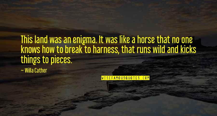 Enigma Quotes By Willa Cather: This land was an enigma. It was like
