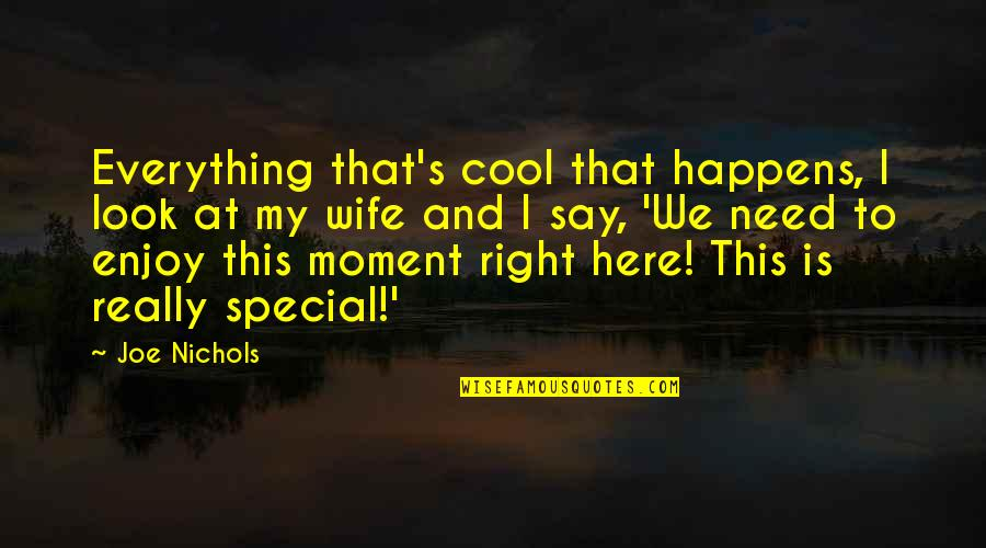 Enjoy Right Now Quotes By Joe Nichols: Everything that's cool that happens, I look at
