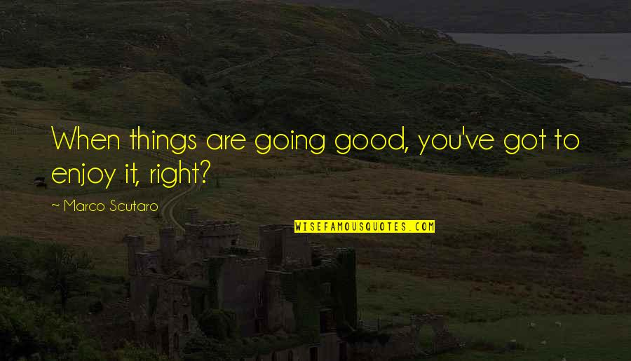 Enjoy Right Now Quotes By Marco Scutaro: When things are going good, you've got to