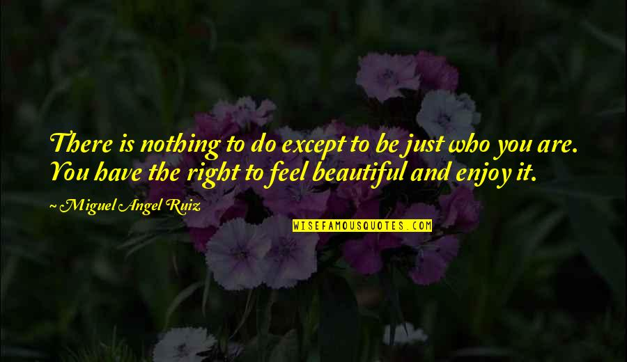 Enjoy Right Now Quotes By Miguel Angel Ruiz: There is nothing to do except to be