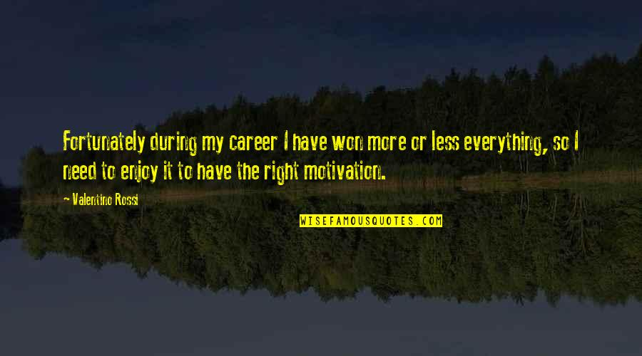 Enjoy Right Now Quotes By Valentino Rossi: Fortunately during my career I have won more