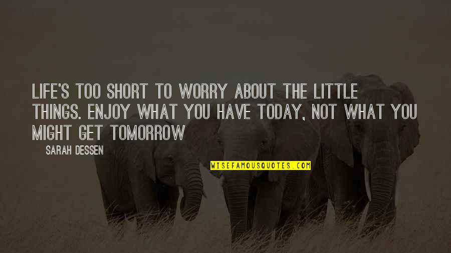 Enjoy The Little Things In Life Quotes By Sarah Dessen: Life's too short to worry about the little