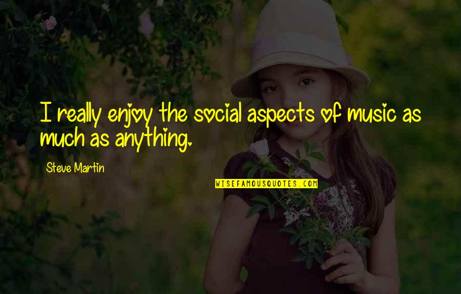 Enjoy The Quotes By Steve Martin: I really enjoy the social aspects of music