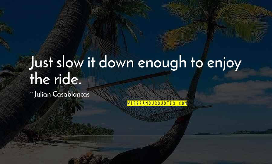 Enjoy The Ride Quotes By Julian Casablancas: Just slow it down enough to enjoy the