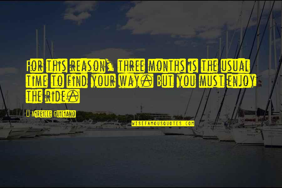 Enjoy The Ride Quotes By Mireille Guiliano: For this reason, three months is the usual