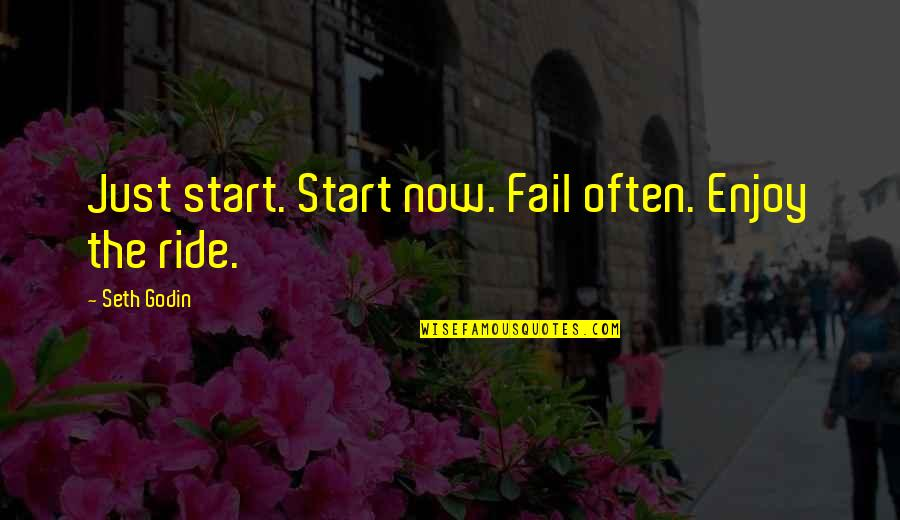 Enjoy The Ride Quotes By Seth Godin: Just start. Start now. Fail often. Enjoy the