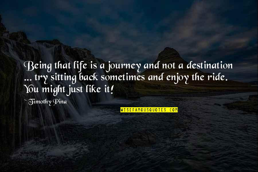Enjoy The Ride Quotes By Timothy Pina: Being that life is a journey and not