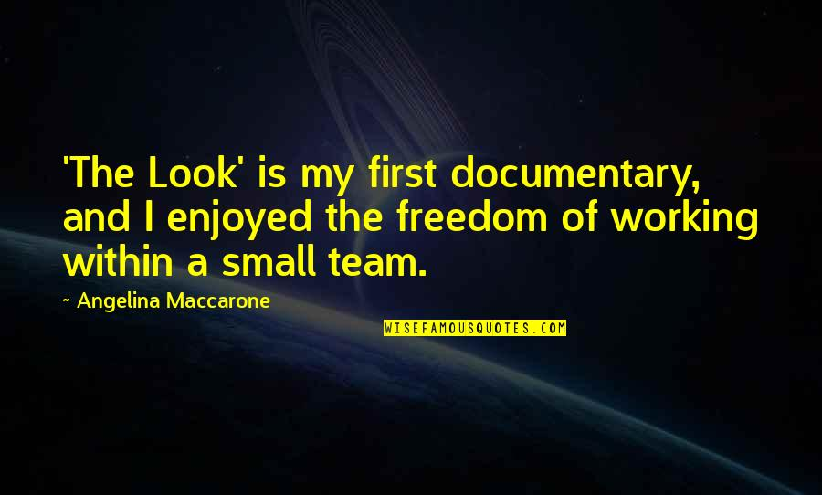 Enjoyed Working With You Quotes By Angelina Maccarone: 'The Look' is my first documentary, and I