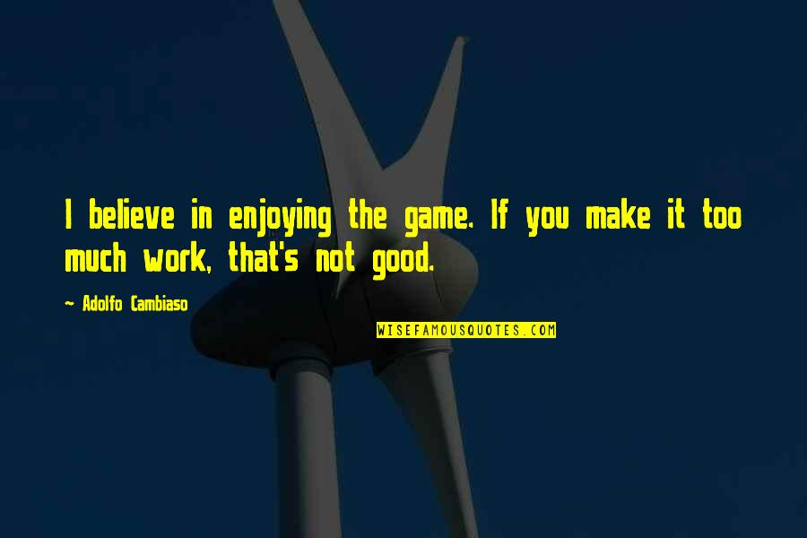 Enjoying The Now Quotes By Adolfo Cambiaso: I believe in enjoying the game. If you