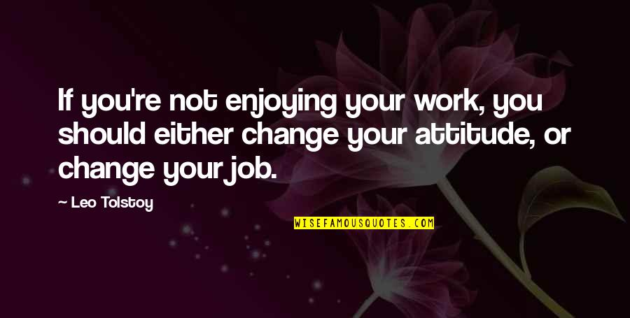 Enjoying Work Quotes By Leo Tolstoy: If you're not enjoying your work, you should