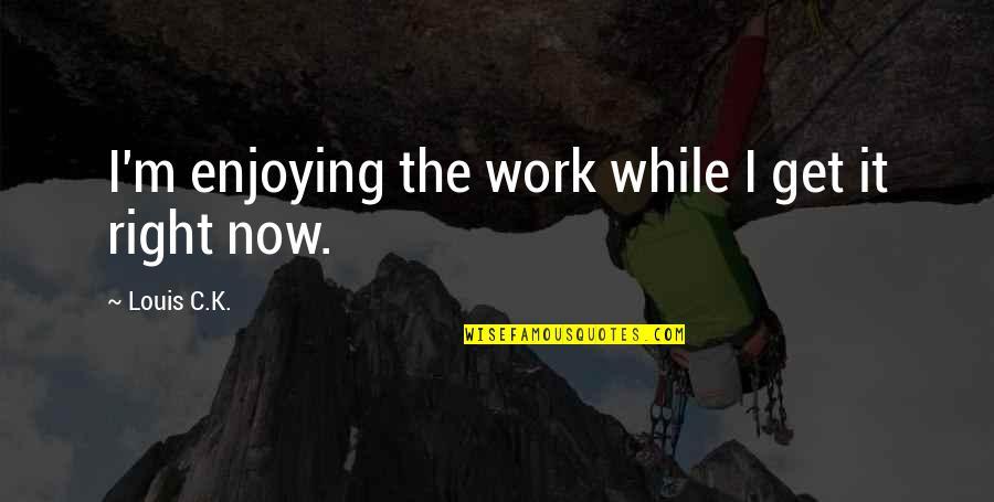 Enjoying Work Quotes By Louis C.K.: I'm enjoying the work while I get it