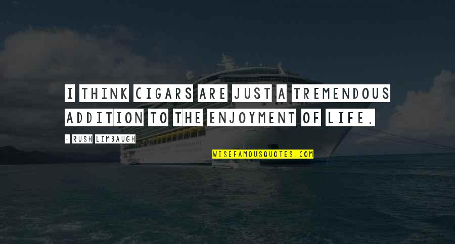 Enjoyment Of Life Quotes By Rush Limbaugh: I think cigars are just a tremendous addition