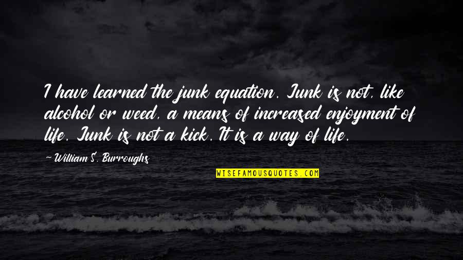 Enjoyment Of Life Quotes By William S. Burroughs: I have learned the junk equation. Junk is