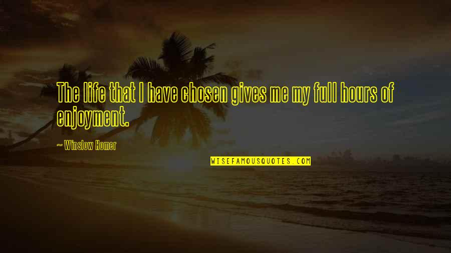 Enjoyment Of Life Quotes By Winslow Homer: The life that I have chosen gives me