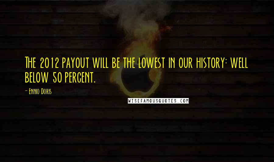 Ennio Doris quotes: The 2012 payout will be the lowest in our history: well below 50 percent.