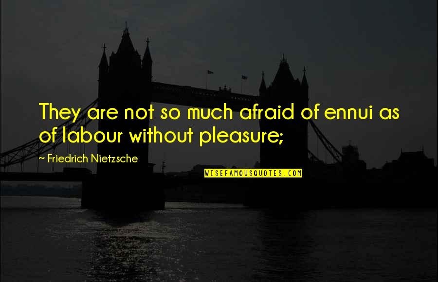Ennui Quotes By Friedrich Nietzsche: They are not so much afraid of ennui