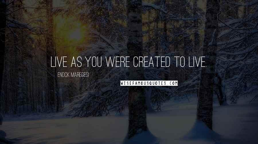 Enock Maregesi quotes: Live as you were created to live.