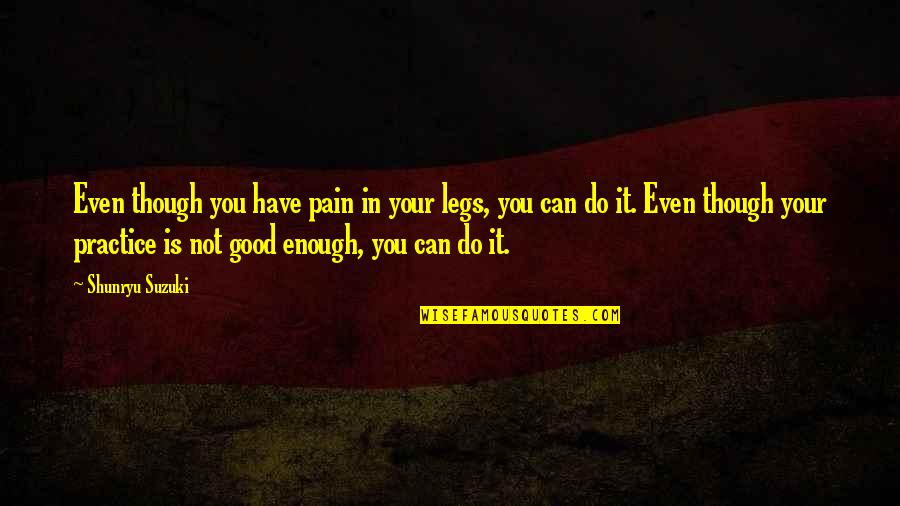 Enough Pain Quotes By Shunryu Suzuki: Even though you have pain in your legs,