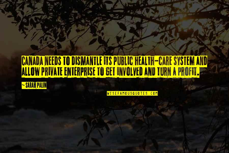 Enterprise System Quotes By Sarah Palin: Canada needs to dismantle its public health-care system