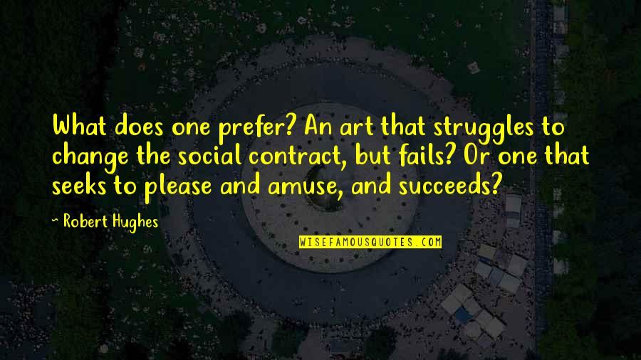 Entertainment Plus Quotes By Robert Hughes: What does one prefer? An art that struggles