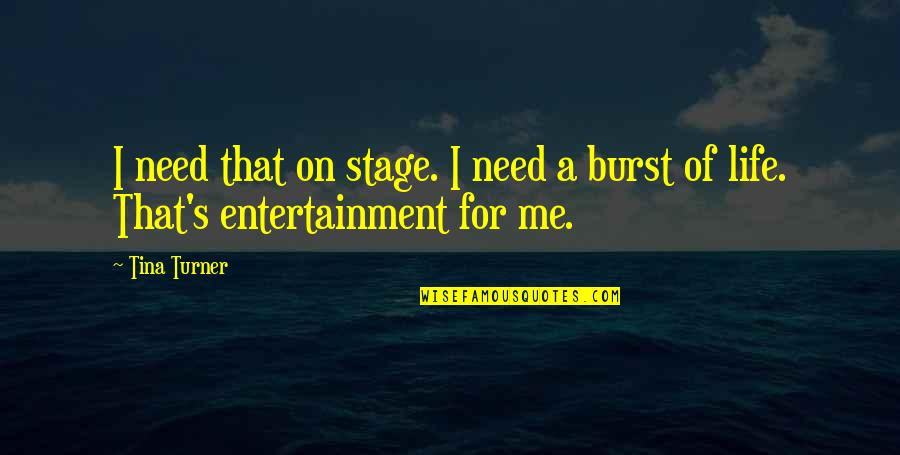 Entertainment Plus Quotes By Tina Turner: I need that on stage. I need a