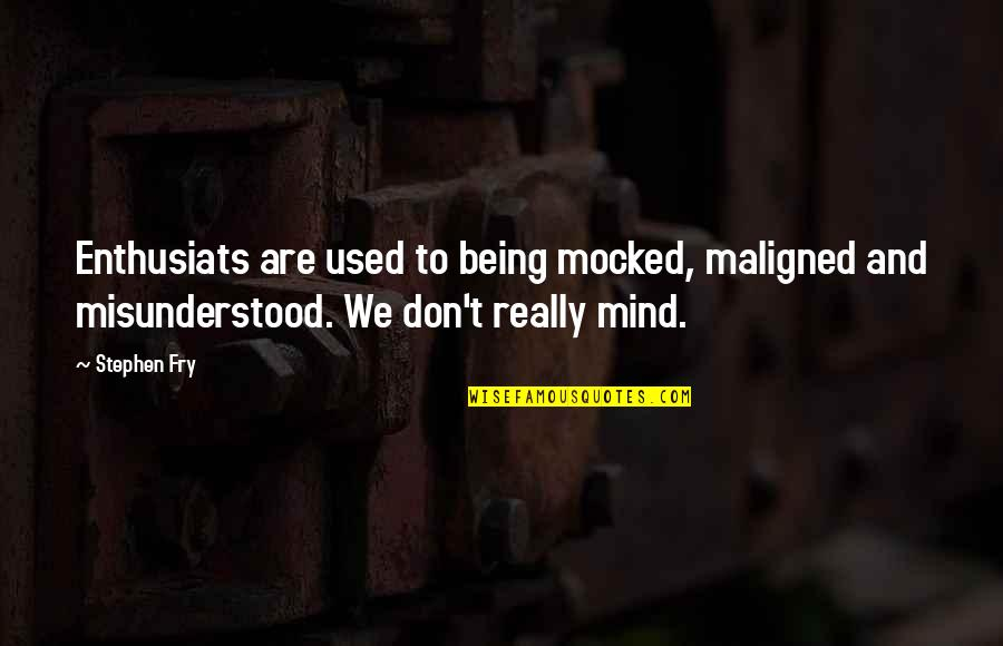 Enthusiats Quotes By Stephen Fry: Enthusiats are used to being mocked, maligned and