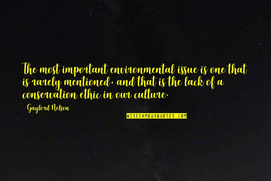 Environmental Issue Quotes By Gaylord Nelson: The most important environmental issue is one that
