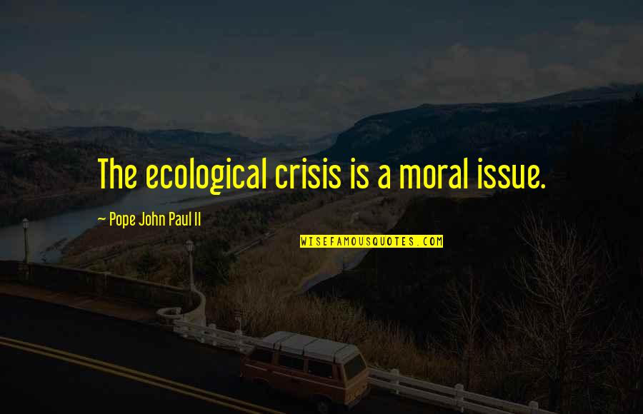 Environmental Issue Quotes By Pope John Paul II: The ecological crisis is a moral issue.
