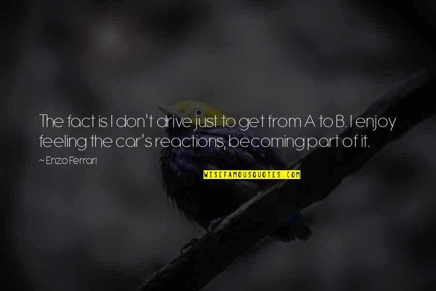 Enzo's Quotes By Enzo Ferrari: The fact is I don't drive just to