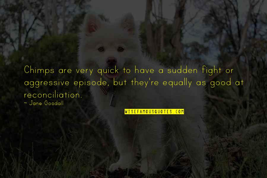 Episode 2 Quotes By Jane Goodall: Chimps are very quick to have a sudden
