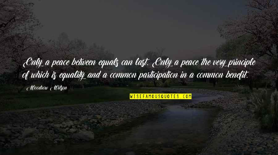 Equality And Peace Quotes By Woodrow Wilson: Only a peace between equals can last. Only