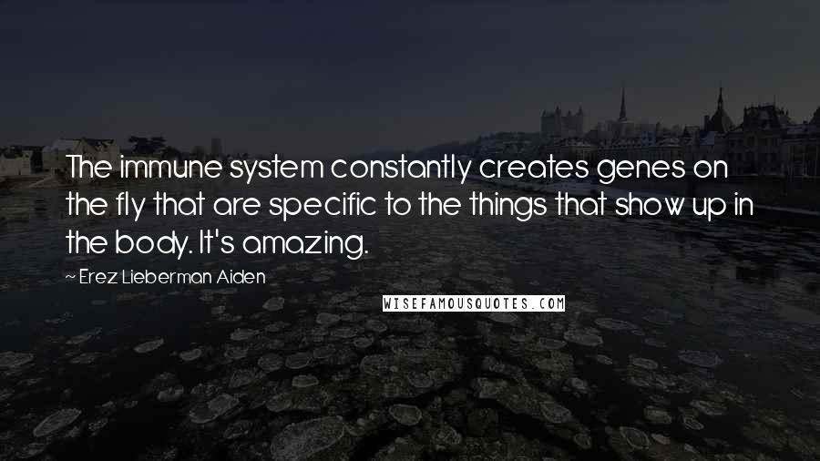 Erez Lieberman Aiden quotes: The immune system constantly creates genes on the fly that are specific to the things that show up in the body. It's amazing.